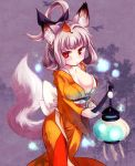 9999_(artist) animal_ears breasts cleavage fox_ears fox_tail huge_breasts japanese_clothes kajio_(maburo) kimono kongiku lantern large_breasts leaf leaf_on_head oboro_muramasa red_eyes silver_hair solo tail
