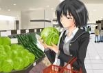 black_hair blazer bob_cut brown_eyes cabbage cucumber murasaki_iro nanasaki_ai school_uniform shopping shopping_basket short_hair supermarket sweater_vest vegetable