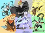 aki_minoriko animal animal_ears antennae apron basket blonde_hair blue_eyes brown_eyes cape capelet centipede dowsing_rod dual_wielding futomashio green_eyes green_hair grey_hair grin hair_ribbon hat highres insect jewelry kurodani_yamame leaf letty_whiterock long_hair long_sleeves maple_leaf mouse mouse_ears mouse_tail multiple_girls nazrin open_mouth orange_eyes outstretched_arms pendant ponytail purple_hair red_eyes ribbon rumia smile snowflakes tail touhou wriggle_nightbug