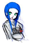 1girl black_lipstick blue_hair bust earrings green_eyes hair_in_mouth highres hoodie jewelry lipstick makeup nes nintendo original payot rough short_hair slit_pupils slugbox small_breasts solo