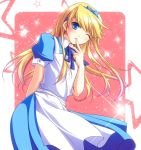 alice_(wonderland) alice_(wonderland)_(cosplay) alice_in_wonderland apron blonde_hair blue_eyes cosplay crossdressing hair_ribbon hairband kuma_(persona_4) long_hair mao_(core) mayokichi persona persona_4 ribbon solo star trap wink