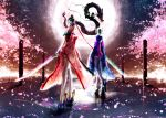 bayonetta bayonetta_(character) black_hair cherry_blossoms dragon glasses gun japanese_clothes katana long_hair long_legs mole moon multiple_girls night pistol seitsuji short_hair star sword thigh-highs thighhighs water weapon white_hair