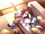 1girl action_figure book brown_hair bunny cage_-close- couch dress hair_ornament highres long_hair pillow sleeping solo spawn stuffed_animal stuffed_toy sunakumo