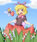 blonde_hair blush cloud clouds doll doll_joints flower futomashio hair_ribbon lily_of_the_valley medicine_melancholy open_mouth puffy_sleeves purple_eyes ribbon short_hair short_sleeves sky su-san touhou violet_eyes wings