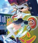 1girl angel_wings ass bag blue_eyes flying geta halo headphones long_hair masao mouth_hold original panda panties school_bag school_uniform silver_hair smartphone solo thigh-highs toast toast_in_mouth umbrella underwear white_hair winged_shoes wings