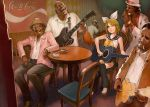 blonde_hair bow cigarette coca-cola crossed_legs dark_skin electric_guitar glasses guitar hanji_(hansi) harmonica hat instrument kagamine_rin laughing leg_warmers shinichi_tahara sitting smile vocaloid wink