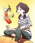 1girl barefoot brown_hair food french_fries hamburger jewelry kazufumi_(kaz-newt) long_hair mcdonald's necklace original pants red_eyes sitting smile soda solo sweater twintails