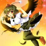 1girl bird_wings black_hair black_legwear black_wings breasts camera clouds feathers flying hat hat_ribbon large_breasts maki_(seventh_heaven_maxion) open_mouth puffy_sleeves red_sky ribbon shameimaru_aya shirt short_sleeves skirt sky smile solo thigh-highs tokin_hat touhou wings zettai_ryouiki