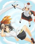 ayu blush catgirl geta hat inubashiri_momiji nekomimi see_through shameimaru_aya short_hair skirt sword tengu-geta touhou weapon wolf_ears