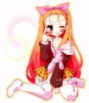 1girl blush bow hair_bow idolmaster kamiya_yuu long_hair minase_iori open_shirt skirt smile solo stuffed_animal stuffed_toy thighhighs white_legwear wink