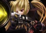 blonde_hair blush fate_testarossa fingerless_gloves gloves gun hair_ribbon long_hair mahou_shoujo_lyrical_nanoha mahou_shoujo_lyrical_nanoha_a's red_eyes reloading ribbon shell_casing tom_(artist) twin_tails twintails