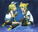 blonde_hair blue_eyes detached_sleeves hair_ornament hair_ribbon hairclip headphones kagamine_len kagamine_rin kneeling momopanda musical_note necktie open_mouth ponytail ribbon short_hair shorts siblings twins vocaloid