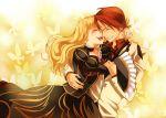 1girl beatrice blonde_hair blush butterfly choker closed_eyes couple dress frills gathers happy hug jacket laughing long_hair nanamura necktie red_hair short_hair smile umineko_no_naku_koro_ni ushiromiya_battler when_they_cry_4