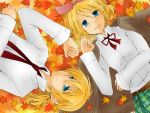 blonde_hair blue_eyes kagamine_len kagamine_rin short_hair siblings twins vocaloid