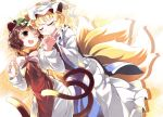 2girls animal_ears blonde_hair blush brown_eyes brown_hair cat_ears cat_tail chachi_(azuzu) chen closed_eyes fox_ears fox_tail hat holding_hands multiple_girls multiple_tails open_mouth short_hair smile tabard tail touhou wink yakumo_ran