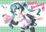 1girl :q ahoge apron aqua_hair bad_id birthday blush cake candle detached_sleeves food fruit green_eyes hatsune_miku long_hair morujii pastry skirt solo spring_onion strawberry thighhighs tongue twintails vocaloid