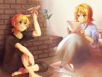 blonde_hair blue_eyes blush feet flower hands kagamine_len kagamine_rin paper_airplane reading ryou_(fallxalice) short_hair shuujin/kami_hikouki_(vocaloid) siblings smile twins vocaloid