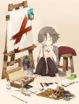 barefoot book canvas_(object) ccru closed_eyes grey_hair highres oekaki_musume original paint paintbrush painting short_hair sitting sleeves_pushed_up solo stool tears