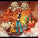 animal asuna_(pokemon) belt camerupt fire gym_leader highres holding holding_poke_ball jeans magcargo midriff navel poke_ball pokeball pokemon pokemon_(game) pokemon_rse pokemon_trainer red_eyes red_hair redhead shi69ro6645 steam torkoal