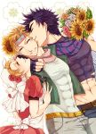 1girl 2boys bandana blonde_hair bosh000 bouquet caesar_anthonio_zeppeli facial_mark fingerless_gloves flower gloves green_jacket headband jacket jojo_no_kimyou_na_bouken joseph_joestar_(young) midriff multiple_boys scarf sunflower suzi_quatro