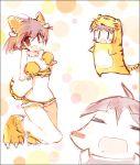 animal_costume animal_ears bad_id brown_eyes brown_hair chibi costume idolmaster kikuchi_makoto paws tail tiger_costume tiger_ears tiger_paws tiger_print tiger_tail