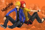 afro back-to-back back_to_back bad_id blonde_hair denji_(pokemon) denzi_(pokemon) english gym_leader hand_in_pocket jacket looking_back male multiple_boys obo ooba_(pokemon) pokemon pokemon_(game) pokemon_dppt red_hair redhead sitting thumbs_up top_four wallpaper zoom_layer