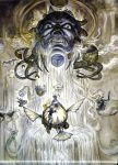 adelbert_steiner amano_yoshitaka battle final_fantasy final_fantasy_ix highres official_art quina_quen salamander_coral scan vivi_ornitier zidane_tribal