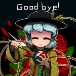 1girl blood blue_hair closed_eyes english flower forced_smile goodbye hat komeiji_koishi ninniku_(ninnniku105) rose short_hair smile solo tears third_eye touhou