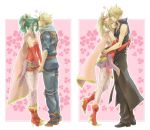 1girl alternate_color alternate_costume blonde_hair cloud_strife couple dissidia_final_fantasy final_fantasy final_fantasy_vi final_fantasy_vii green_hair heart hug kiss pantyhose ryouto tina_branford