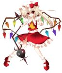 absurdres blonde_hair flandre_scarlet hat highres laevatein long_hair midriff navel side_ponytail smile solo torn_clothes touhou transparent_background wings wreathlit69