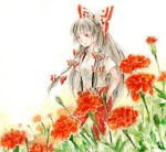 bow flower fujiwara_no_mokou hair_bow hair_ribbon hands_in_pockets long_hair marigold pants red_eyes ribbon short_sleeves silver_hair simple_background smile solo suspenders t-shirt touhou traditional_media uram uram_(artist) watercolor_(medium)