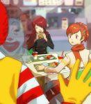 eating female_protagonist_(persona_3) food hamburger jigoku_meguri kirijou_mitsuru mcdonald's mcdonald's pantyhose persona persona_3 persona_3_portable red_eyes reflection ronald_mcdonald sitting smile stalking window you_gonna_get_raped
