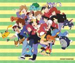 6+boys aipom backwards_hat baseball_cap black_eyes black_hair brown_hair bulbasaur charmander cyndaquil eevee fingerless_gloves fushigidane gloves goggles goggles_on_head gold_(pokemon) hat hitokage jacket jewelry koma_yoichi multiple_boys necklace ookido_green ookido_shigeru pikachu pointing pokedex pokemon pokemon_(anime) pokemon_(game) pokemon_gsc pokemon_hgss pokemon_special poliwhirl red_(pokemon) red_(pokemon)_(classic) red_hair redhead running satoshi_(pokemon) satoshi_(pokemon)_(classic) short_hair silver_(pokemon) smile sneasel sparkle spiked_hair spiky_hair striped striped_background title_drop totodile zenigame