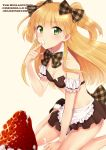 apron blonde_hair blush bow breasts character_name cleavage eating food food_on_face fruit green_eyes hair_bow icing idolmaster idolmaster_cinderella_girls jougasaki_rika long_hair looking_at_viewer oversized_object plaid plaid_bow pu_uq short_twintails simple_background sitting skirt solo strawberry title_drop twintails two_side_up waist_apron wariza white_background