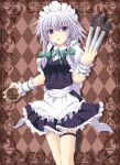 apron argyle argyle_background blue_eyes braid cross_(crossryou) izayoi_sakuya knife maid_headdress ribbon short_hair silver_hair solo stopwatch thigh_strap touhou twin_braids waist_apron watch wrist_cuffs