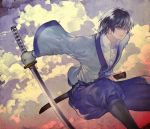 black_hair japanese_clothes jumping katana male pekomi rurouni_kenshin scabbard seta_soujirou sheath short_hair solo sword weapon