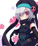 blush fishnets hachisuka_goemon hat ninja oda_nobuna_no_yabou pink_eyes scarf short_hair silver_hair skull solo tougo