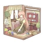 :o book cake chest curtains cutting_board dress fairy fairy_(jintai) flower food fork green_eyes hat isometric jinrui_wa_suitai_shimashita knife lampshade lock long_hair looking_at_viewer photo photo_(object) picture_frame pink_hair plate pot room rug sitting toruglose wariza watashi_(jintai) whisk window