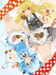 berry_jou blonde_hair blue_eyes blue_hair bow braid cirno cookie doughnut dress eating food hair_bow kirisame_marisa lying multiple_girls no_hat no_headwear open_mouth pastry ribbon short_hair short_sleeves single_braid thighs touhou yellow_eyes