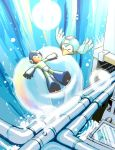 blue bubble coramune pipes rockman rockman_(character) rockman_(classic) sleeping water waterfall