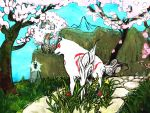 cherry_blossoms flower issun ma_nyan_(nyao_mao_nyao) no_humans okami ookami_(game) tattoo traditional_media tree wolf