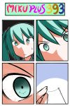 4koma catstudio_(artist) close-up comic eyes face green_eyes green_hair hair_ribbon hatsune_miku highres needle ribbon silent_comic solo thread trembling twintails vocaloid