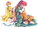 1girl barefoot blush braid braiding braiding_hair couple green_eyes hairdressing harukanaru_toki_no_naka_de harukanaru_toki_no_naka_de_2 isato kiske long_hair red_eyes red_hair redhead smile takakura_karin
