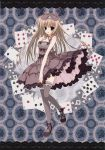 absurdres bare_shoulders black_legwear blonde_hair blush bow card dress frilled_dress frilled_legwear frilled_thighhighs frills grey_legwear hair_bow hand_on_own_chest highres inugami_kira looking_at_viewer off_shoulder open_mouth playing_card purple_eyes seitokai_no_ichizon shiina_mafuyu shoes standing_on_one_leg thigh-highs thighhighs violet_eyes