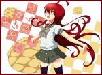 1girl bow bread floating_hair food happy long_hair looking_at_viewer melon_bread mokkei open_mouth outstretched_arms red_eyes red_hair redhead school_uniform serafuku shakugan_no_shana shana simple_background skirt smile smiling solo spread_arms thigh-highs thighhighs