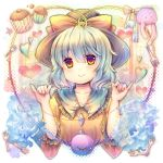 1girl blue_rose blush bust candy eyeball flower fork green_eyes green_hair hat hat_ribbon heart heart_of_string komeiji_koishi muffin pjrmhm_coa rabbit ribbon rose short_hair silver_hair smile solo stuffed_animal stuffed_toy third_eye touhou wide_sleeves yellow_eyes