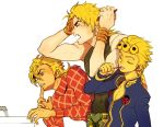 3boys blonde_hair blue_eyes bracelet brushing_teeth combing diego_brando dio_brando fang giorno_giovanna green_eyes jewelry jojo_no_kimyou_na_bouken ladybug morning multiple_boys steel_ball_run tears tem_(artist)