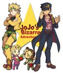 1girl 3boys black_hair blonde_hair blue_eyes dio_brando father_and_daughter father_and_son gakuran giorno_giovanna hat jojo_no_kimyou_na_bouken kuujou_jolyne kuujou_joutarou multiple_boys plant potted_plant red_eyes school_uniform tem_(artist) time_paradox toddler young