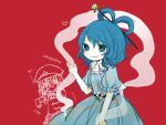 2girls blue_eyes blue_hair chinese_clothes collarbone flower hair_rings hair_stick hat heart kaku_seiga kanitama_(putyourhead) miyako_yoshika multiple_girls ofuda open_mouth outstretched_arms puffy_sleeves red_background shawl short_sleeves smile solo star ten_desires touhou zombie_pose