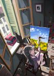 1girl barefoot black_cat black_hair bread bus canvas_(object) cat chair easel flower food glass highres long_hair motor_vehicle oekaki_musume open_window original paint_stains paintbrush painting painting_(object) sitting spill toilet_paper vehicle window